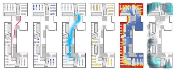 From left to right, each plan is overlaid with a simulation of the following parameters: adjacency preference, work style preference, buzz, productivity, daylight, and views to outside.