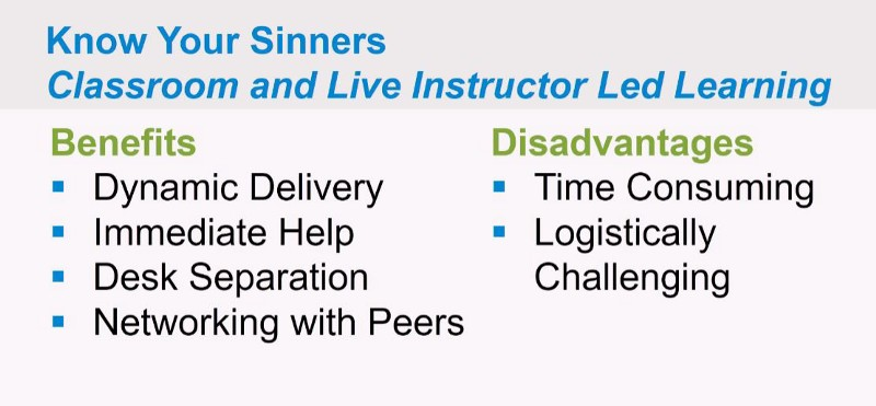 Benefits of Classroom and Live Instructor Led Learning