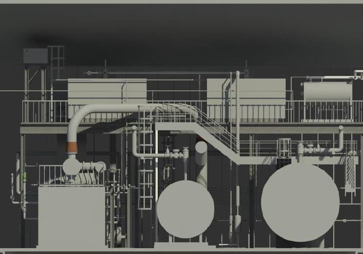 Elevation view in Revit of two steam boilers and one new CHP.
