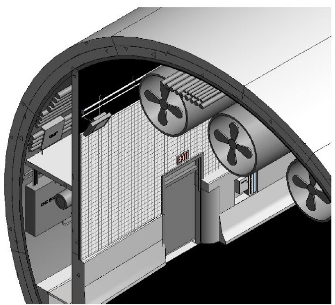 Detailed tunnel section for space proofing
