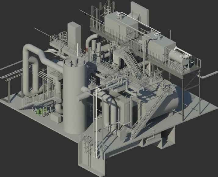 Revit isometric view of the central plant.