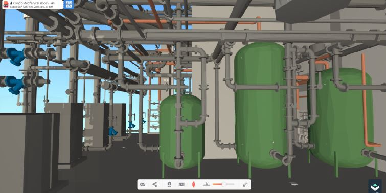 Interior view of the mechanical room, Revit exported to QRVR.