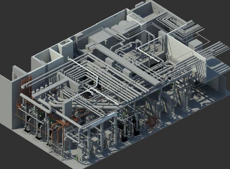 Revit isometric view of the mechanical room.