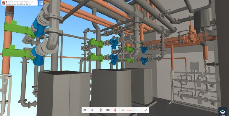 Interior view of the mechanical room, Revit exported to QRVR