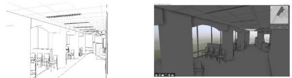 Revit camera (left) and sketch view (right).