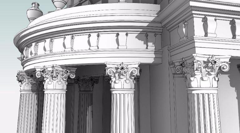 Corinthian columns at Tivoli Corner