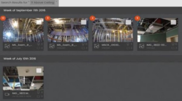 Since Smartvid.io understands higher level concepts in construction, it provides for smarter searches. The above image shows all the images in a project for the query 'above ceiling.'
