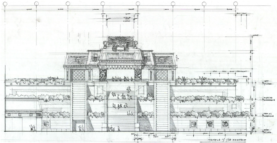 Sketch of theme park building