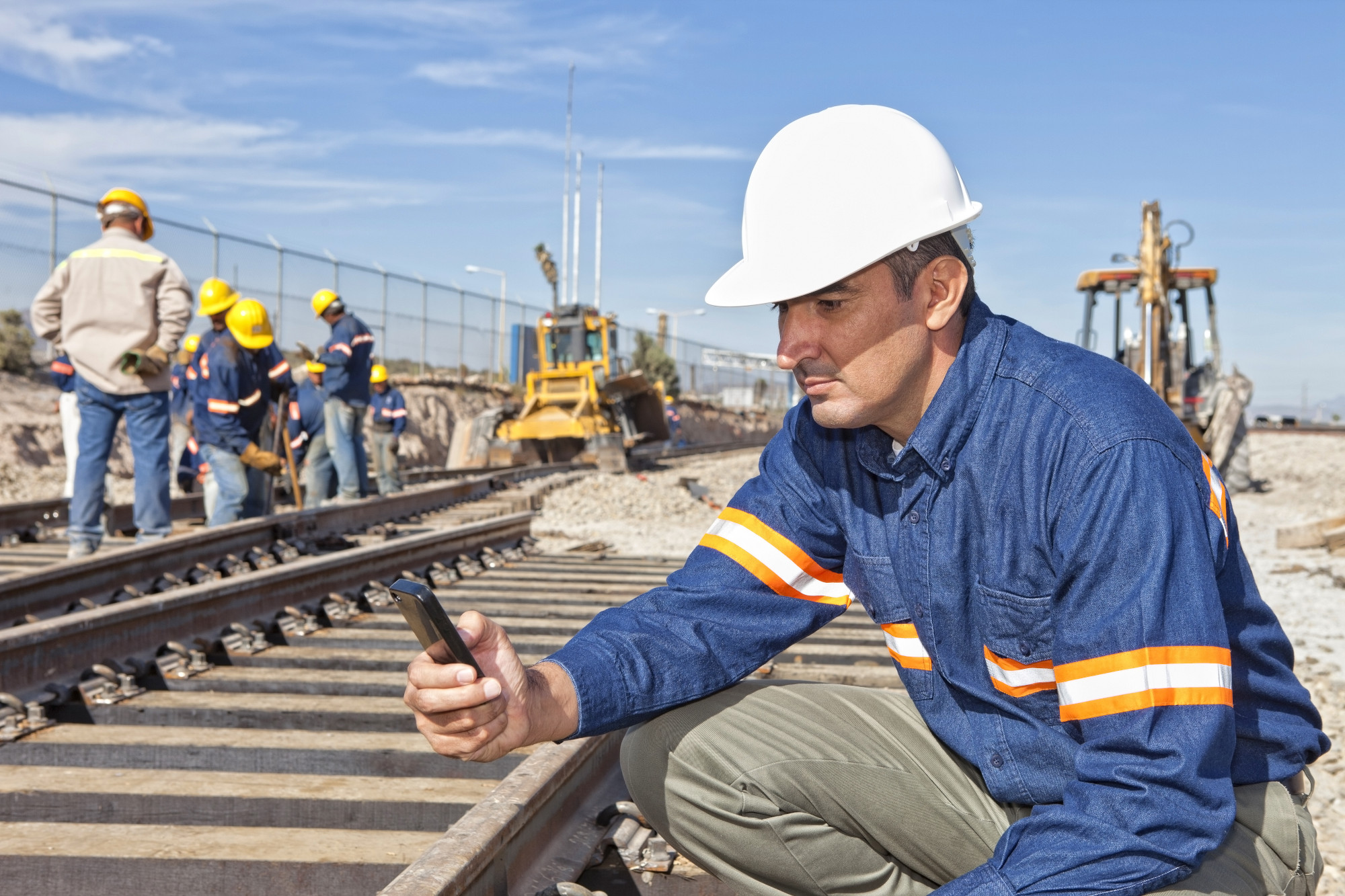 Engineer at rail site